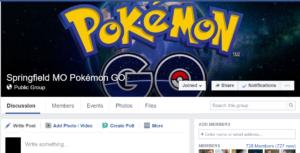 Springfield MO Pokemon GO Facebook Page. 2016
